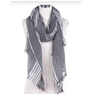 Large charcoal gray & white striped NWT